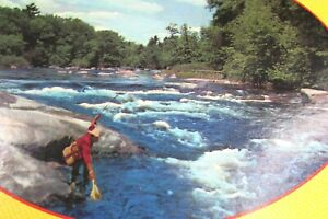 Vintage White Water Fly Fishing Oval 850 Piece Puzzle No 900 Warren Built Rite