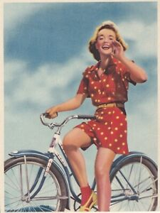 BICYCLE   beauty - 1940s  illustrated  PIN-UP/CHEESECAKE sample  CALENDAR top