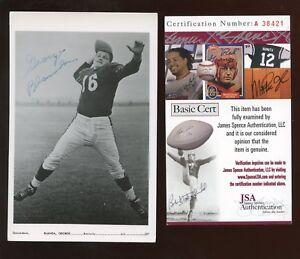 George Blanda Quarterback Kentucky Vintage Signed 3.5 x 5.5 Photo Card-JSA