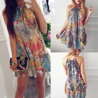Womens Summer Boho Mini Maxi Dress Ladies Halter Casual Beach Party Shirt Dress~