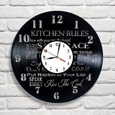 Kitchen rules design vinyl record wall clock home art bedroom shop office club