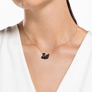 Signed Swarovski Designer Timeless Black Crystal Swans Pendant Necklace