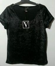 VON ZIPPER VELVET SHIRT TOP size 10 NWT BLACK WITH STUD SHOULDER