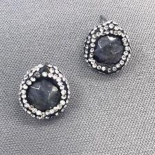 Fashionable Beautiful Semi Precious Black Stone Rhinestone Stud Earrings