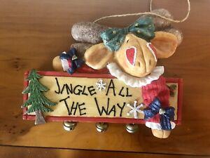 Christmas Wall Hanging Plaque Decoration Reindeer Bells