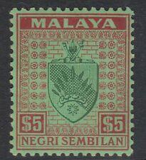 NEGRI SEMBILAN 1935-41 $5 GREEN & RED/EMERALD  Sg39-  mounted mint