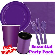 Purple Essential Party Pack Plates Cups Cutlery Ribbon - FREE DELIVERY