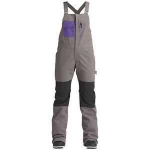 Snowboard Ski Womens Bib Pants Trousers Grey Medium Airblaster Sassy Hot Bib