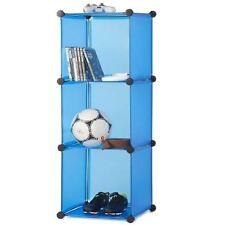 New Blue 3 Tier Compartment Home Storage Plastic Organiser Rack Shelf Shelfing