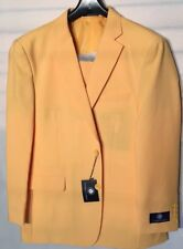 NEW Mens 2 Button Suit Vittorio St. Angelo Solid Color yellow Size46R/40W$139,99