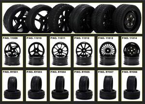 1/10 On Road Nitro Touring Drifting Car 4 Wheels & Tyres Tires Set Shinny Black