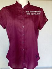 HARLEY DAVIDSON Size Small S Fitted Cotton Fitted Blouse Burgundy Red NEW Cap Sl