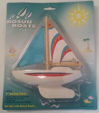 """Bosun Boats by Reeves Sailboat NEW Sailing Pond Yacht Boat 7""""  wood hull Vintage"""