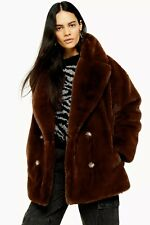 New Arrival TopShop Soft Faux Fur Double Breasted Coat Last Size S
