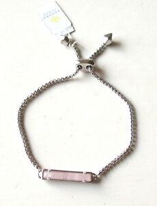 Kendra Scott Stan Silver Slide Adjustable Chain Bracelet in Rose Quartz Pink NEW