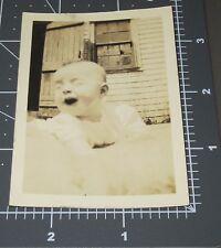 VERY Happy Baby Blanket Outside Smile POV Child Girl Boy Vintage Snapshot PHOTO