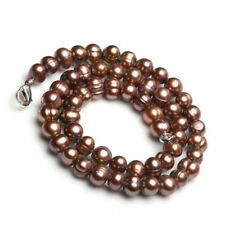 """Pretty 7-8mm 100% Natural Coffee Freshwater Cultured Pearl Necklace 18"""" JN1648"""
