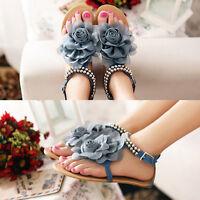 Vogue Summer Girls Sandals Female Beaded Flower Flat Flip-flop Women's Shoes