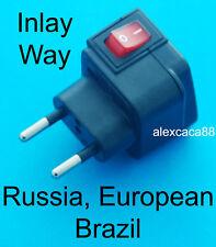 Universal Travel Adaptor AC Power Plug + Switch for EU Europe Brazil Russia New