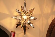 """Moravian star -20"""" antique mirror and clear glass star 26 point antique trim"""