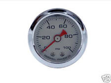 Liquid Filled Oil Pressure Gauge  0-100 psi - SILVER face -Harley Davidson