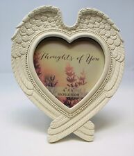 "in Loving Memory Heart Shaped Angel Wings Photo Frame 4x4"" Memorial Shabby Chic"