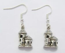 Castle Earrings, Silver colour on Matching Hooks 1.5cm Drop Handmade in Cornwall