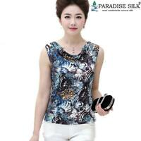 Pure Silk Knit Women's Sleeveless Tank Top Cowl Neck Vest Printed Top Blouse