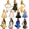 Women Lady Shiny Metallic Flare Skater Dress Night Club Party A-Line Short Skirt