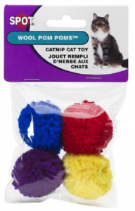 Spot Ethical WOOL POM POM Cat Kitten Toy Catnip Scented Pak of 4
