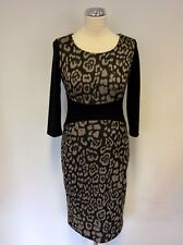 LAURA ASHLEY BLACK & BROWN ANIMAL PRINT PENCIL DRESS SIZE 8