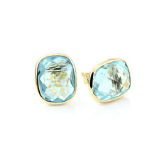 14K Yellow Gold Studs With Cushion Cut Blue Topaz Gemstones