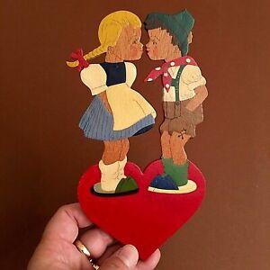 🎁 MÄRCHEN-HOLZBILD Handgemalte Herz-Kinder: 1940er Hilla 20cm Laubsäge-Arbeit