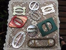 vintage~9 different sewing buckles~mother of pearl~Bakelite~rhinestones~brass~