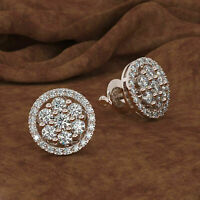 1.5 CARAT ROUND CUT DIAMOND STUD POST SCREWBACK EARRINGS 14K WHITE GOLD OVER