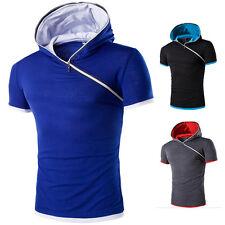 Men Slim Fit Hooded Tee Muscle Short Sleeve Sport Fitness Fitness Shirt Hoodies