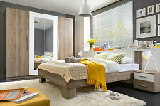 Martina Bedroom furniture Set Wardrobe King Size Bed Bedside oak white new