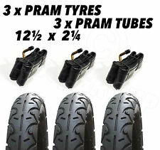 "3 x Pram Tyres & 3 x Tubes 12 1/2 X 2 1/4"" First Wheels City Elite City Twin"