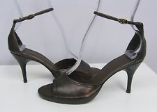 COSTUME NATIONAL LUXE SHOES NEW BROWN BRONZE METALLIC LEATHER ANKLE STRAPS 35