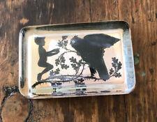 John Derian Company Decoupage Signed Handmade Glass Paperweight Bird Child Vines