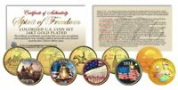 SPIRIT OF 1776 FREEDOM Patriotic Colorized US Quarter 5-Coin Set 24K Gold Gilded