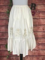 Krazy Kat Skirt size Small Ivory Floral Embroidery Ruffle A Line Below Knee Boho