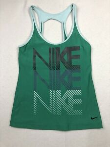 Nike Fit Dri Womens M Athletic Top Sleeveless Tank Green Performance Stretch