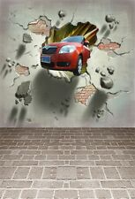 Car Rushes Into Room Photography Backgrounds 5x7ft Vinyl Studio Photo Backdrops