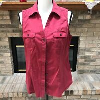 Sonoma Life Style Womens Sleeveless Shirt Button-Front Pocket Size M Stretch Red