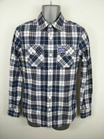 MENS SUPERDRY NAVY/WHITE CHECKED BUTTON UP LONG SLEEVED CASUAL SHIRT UK S SMALL