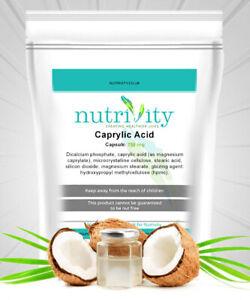 Anti-Fungal Supplement Caprylic Acid 750mg Veggie Capsules Made by Nutrivity UK