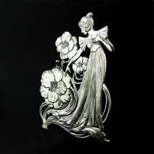 Jugendstil~art-nouveau~Maiden~Uhraufsteller~Taschenuhrständer~WMF~Zinn versilb.