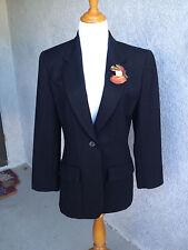 Vintage Liz Claiborne Black Blazer 100% Wool Size 8