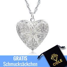 Medaillon Herz Amulett 925 Sterling Silber Foto Bild Halskette Kette Anhänger